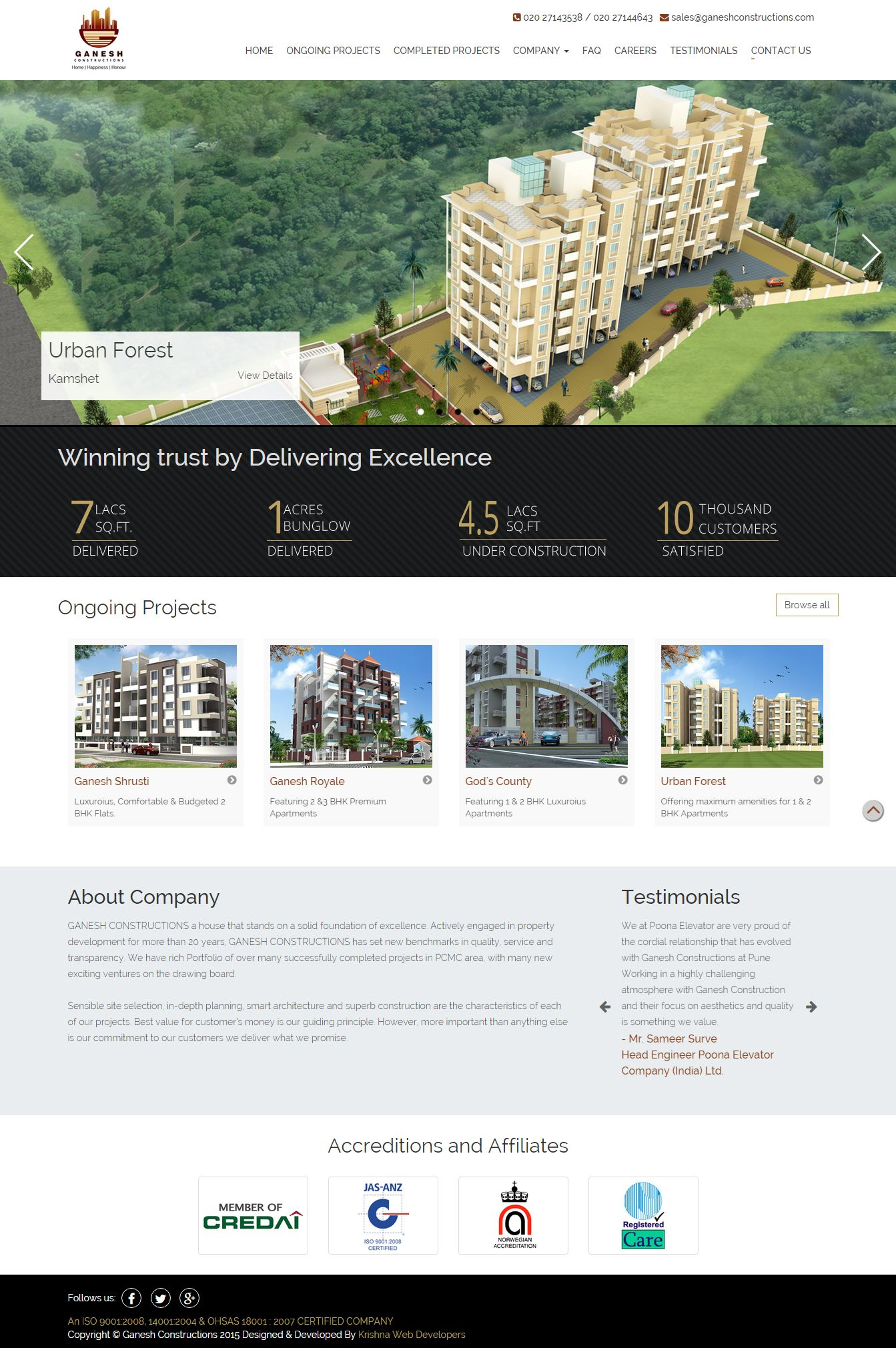 Construction Company Website Designing in Pune india